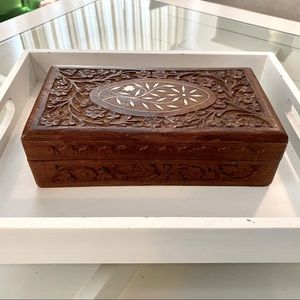Vtg Carved Wood Jewelry Box